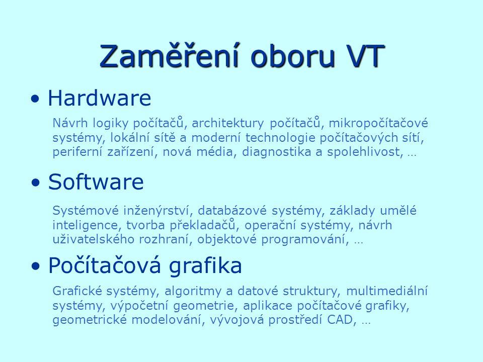 Zaměření oboru VT Hardware Software Počítačová grafika Návrh logiky počítačů, architektury počítačů, mikropočítačové systémy, lokální sítě a moderní technologie počítačových sítí, periferní zařízení, nová média, diagnostika a spolehlivost, … Systémové inženýrství, databázové systémy, základy umělé inteligence, tvorba překladačů, operační systémy, návrh uživatelského rozhraní, objektové programování, … Grafické systémy, algoritmy a datové struktury, multimediální systémy, výpočetní geometrie, aplikace počítačové grafiky, geometrické modelování, vývojová prostředí CAD, …