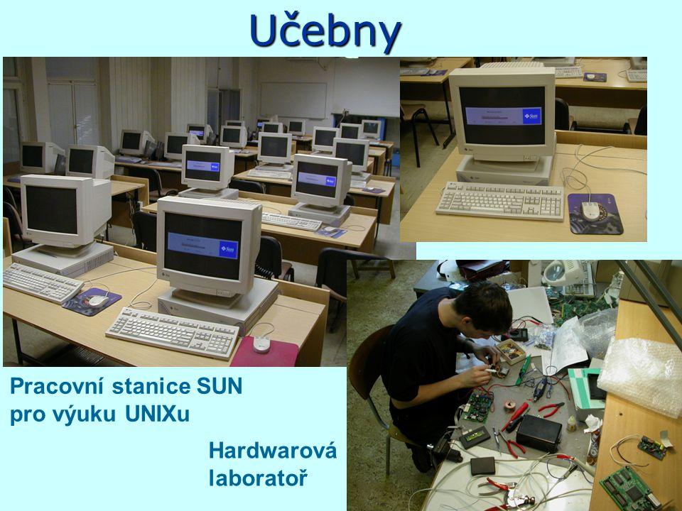 Vybavení katedry - HW+SW Laboratoře –PC a pracovní stanice SUN –počítačové grafiky (počítače SGI a PC) –multimediální laboratoř Internet - připojení n