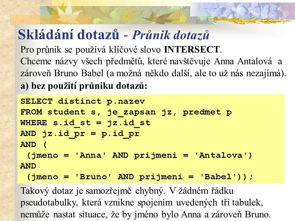 Pro průnik se používá klíčové slovo INTERSECT.