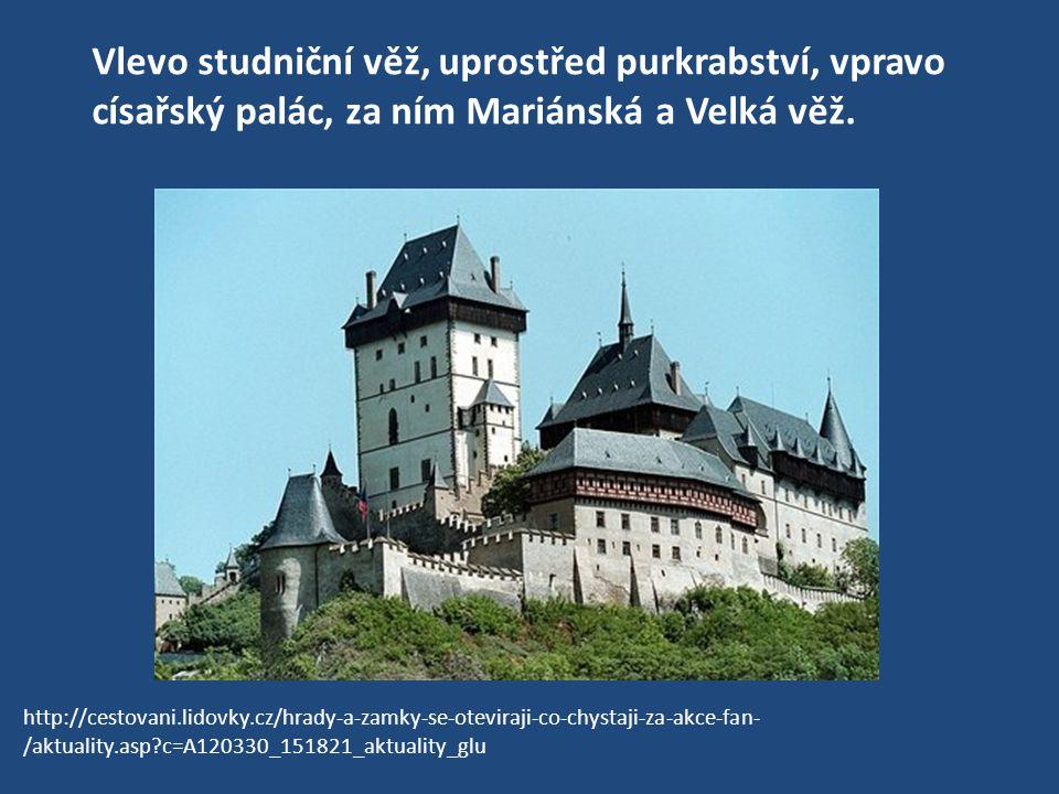 Vlevo studniční věž, uprostřed purkrabství, vpravo císařský palác, za ním Mariánská a Velká věž. http://cestovani.lidovky.cz/hrady-a-zamky-se-oteviraj