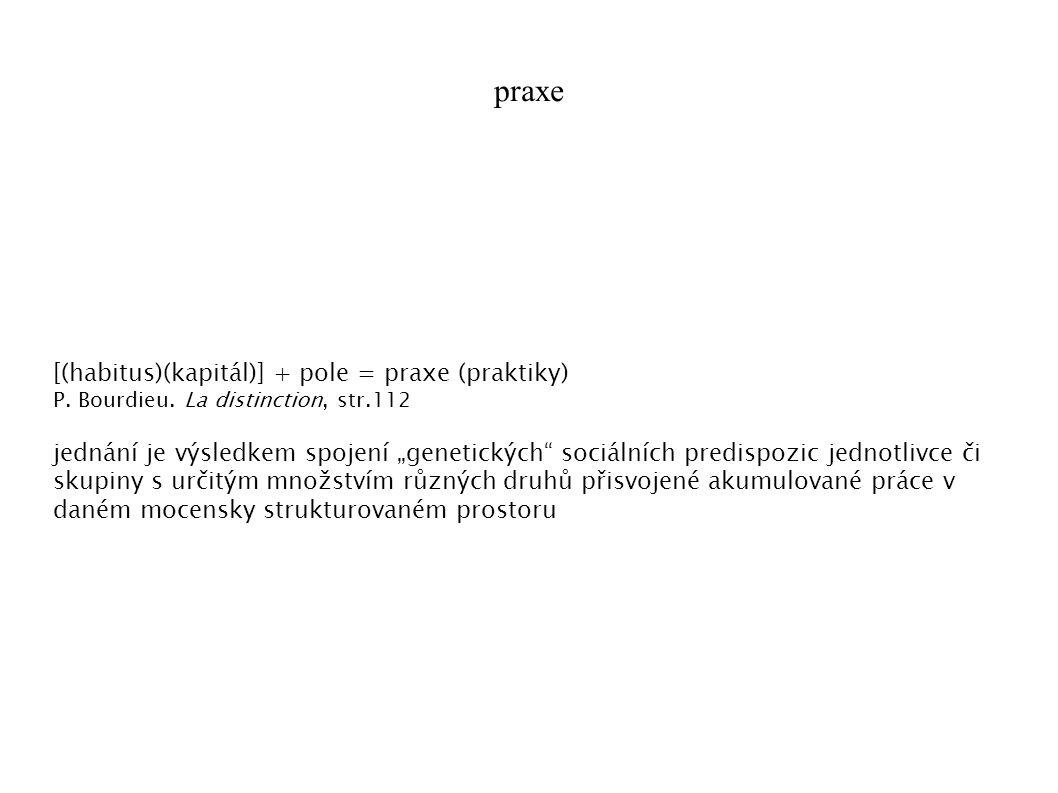 praxe [(habitus)(kapitál)] + pole = praxe (praktiky) P.