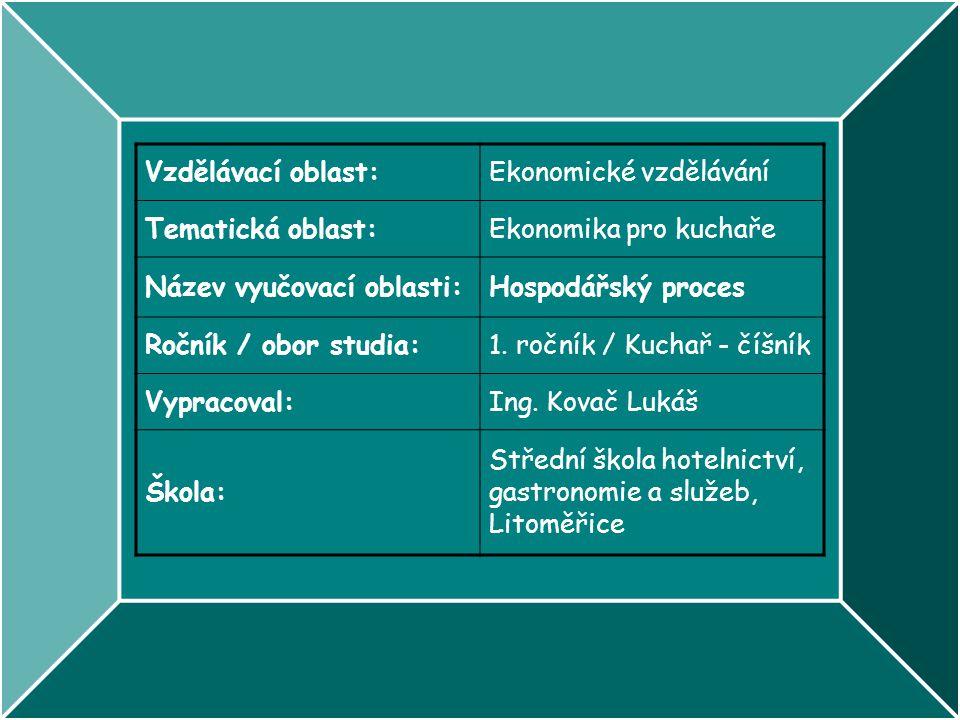 Vzdělávací oblast:Ekonomické vzdělávání Tematická oblast:Ekonomika pro kuchaře Název vyučovací oblasti:Hospodářský proces Ročník / obor studia:1. ročn