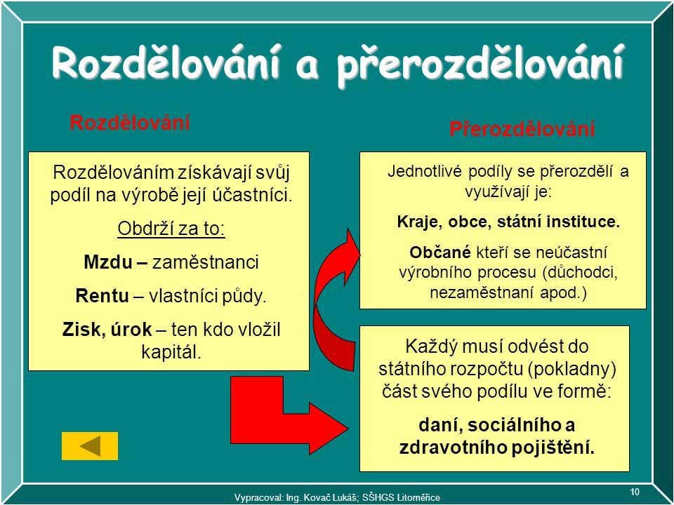 Vypracoval: Ing. Kovač Lukáš; SŠHGS Litoměřice 10 Rozdělování a přerozdělování Rozdělování Přerozdělování Rozdělováním získávají svůj podíl na výrobě