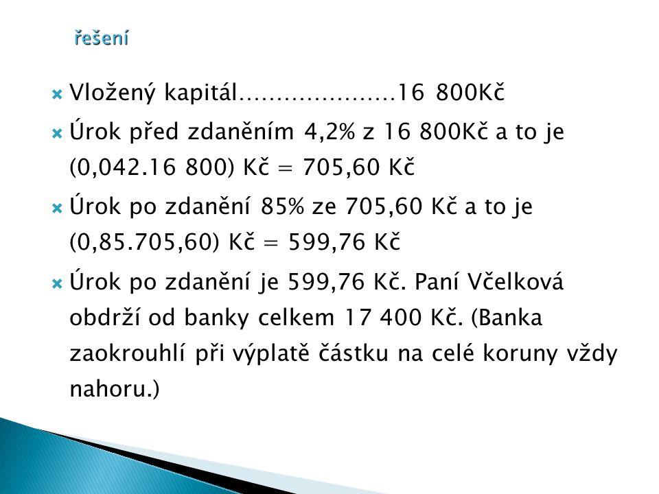 řešení  Vložený kapitál…………………16 800Kč  Úrok před zdaněním 4,2% z 16 800Kč a to je (0,042.16 800) Kč = 705,60 Kč  Úrok po zdanění 85% ze 705,60 Kč a to je (0,85.705,60) Kč = 599,76 Kč  Úrok po zdanění je 599,76 Kč.