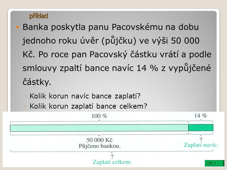 Banka poskytla panu Pacovskému na dobu jednoho roku úvěr (půjčku) ve výši 50 000 Kč.
