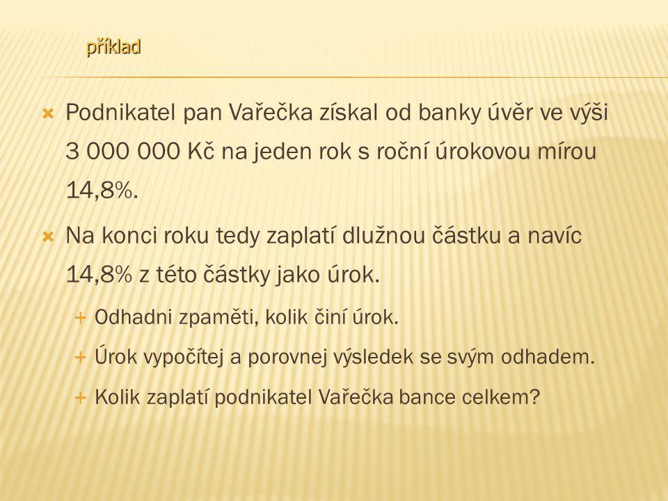  Podnikatel pan Vařečka získal od banky úvěr ve výši 3 000 Kč na jeden rok s roční úrokovou mírou 14,8%.