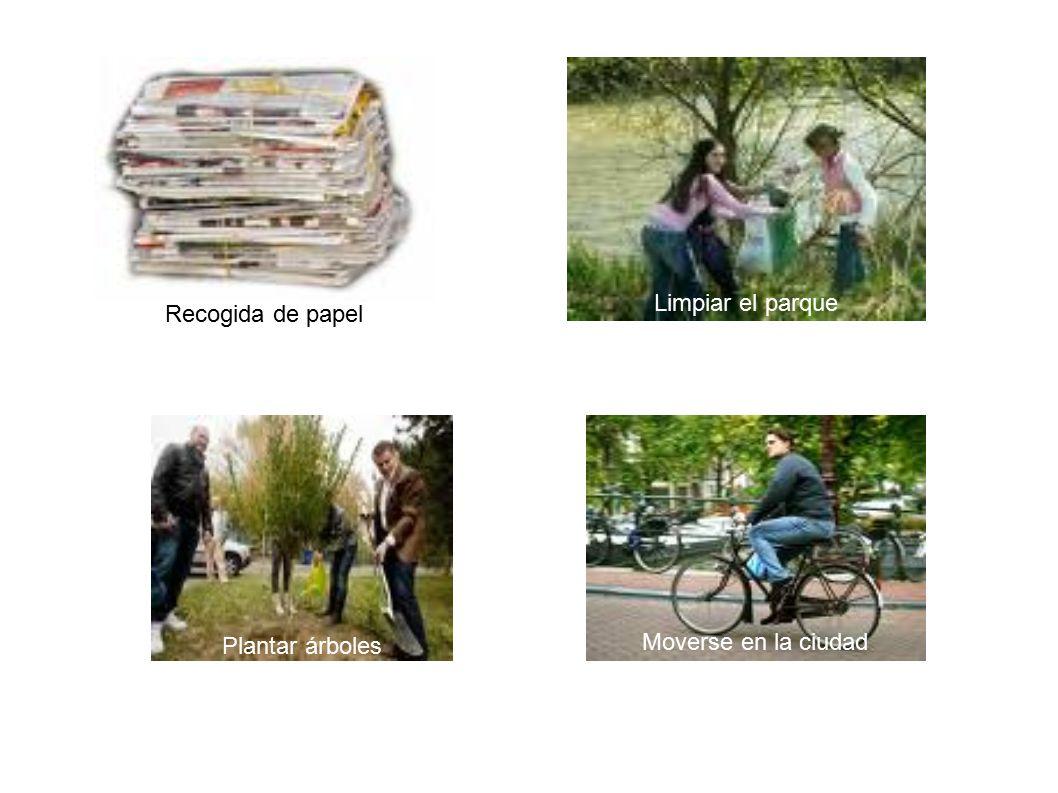 Recogida de papel Plantar árboles Limpiar el parque Moverse en la ciudad