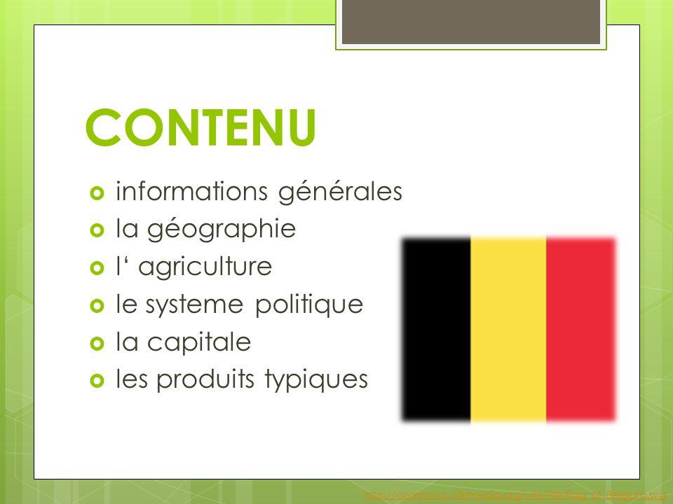 CONTENU  informations générales  la géographie  l' agriculture  le systeme politique  la capitale  les produits typiques http://commons.wikimedia.org/wiki/File:Flag_of_Belgium.svg