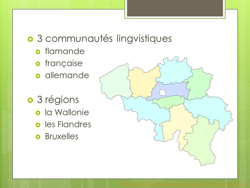  3 communautés lingvistiques  flamande  française  allemande  3 régions  la Wallonie  les Flandres  Bruxelles http://commons.wikimedia.org/wiki/File:Belgium_Provinces_map-blank.svg