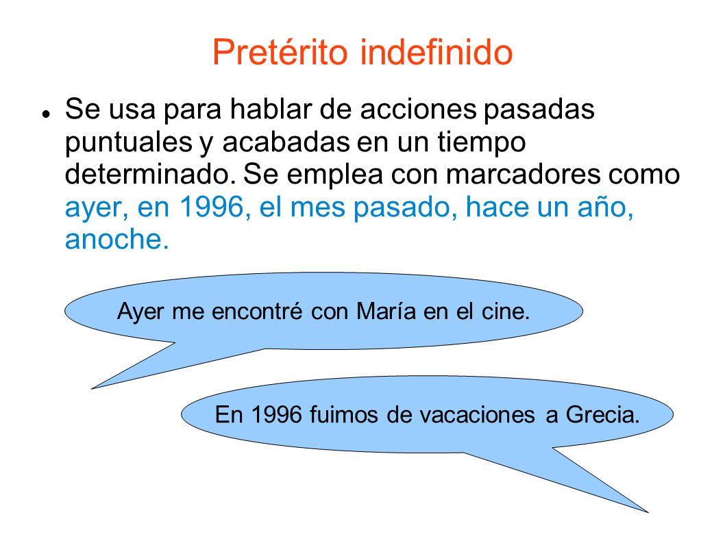 Pretérito indefinido Se usa para hablar de acciones pasadas puntuales y acabadas en un tiempo determinado.