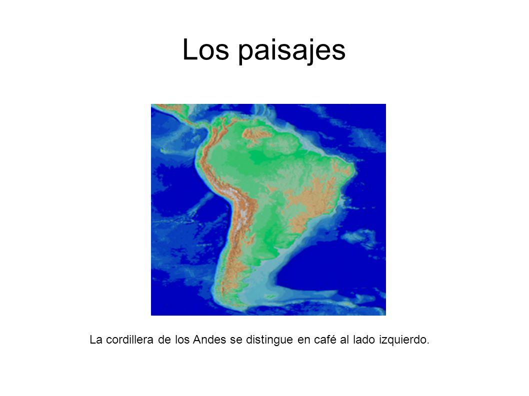 Los paisajes La cordillera de los Andes se distingue en café al lado izquierdo.