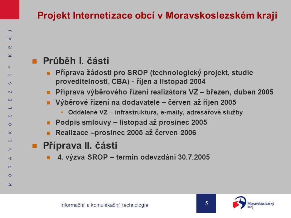 M O R A V S K O S L E Z S K Ý K R A J 5 Informační a komunikační technologie Projekt Internetizace obcí v Moravskoslezském kraji Průběh I.