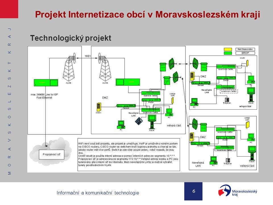 M O R A V S K O S L E Z S K Ý K R A J 6 Informační a komunikační technologie Projekt Internetizace obcí v Moravskoslezském kraji Technologický projekt