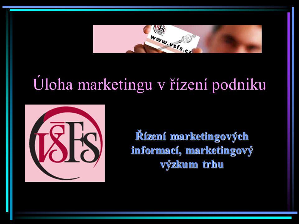 Úloha marketingu v řízení podniku Řízení marketingových informací, marketingový výzkum trhu