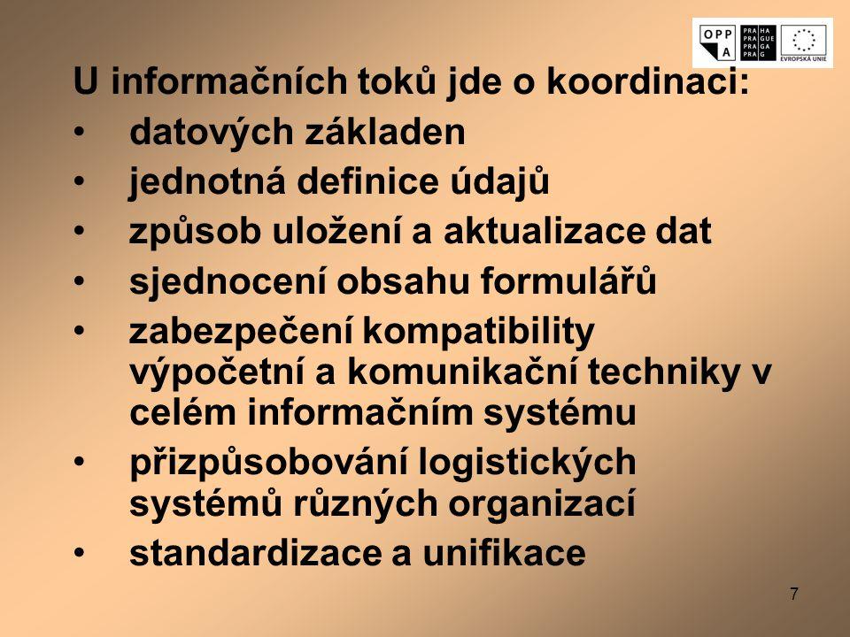 7 U informačních toků jde o koordinaci: datových základen jednotná definice údajů způsob uložení a aktualizace dat sjednocení obsahu formulářů zabezpe
