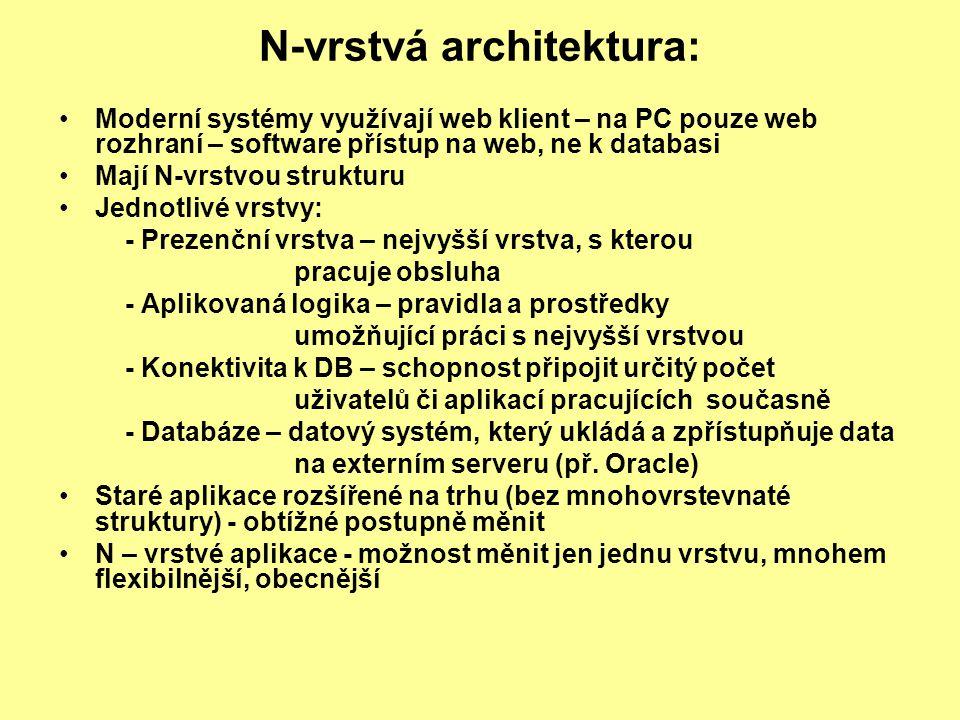 N-vrstvá architektura: Moderní systémy využívají web klient – na PC pouze web rozhraní – software přístup na web, ne k databasi Mají N-vrstvou struktu