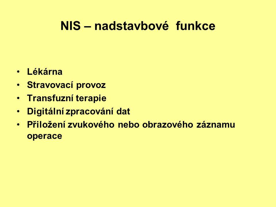 NIS – nadstavbové funkce Lékárna Stravovací provoz Transfuzní terapie Digitální zpracování dat Přiložení zvukového nebo obrazového záznamu operace