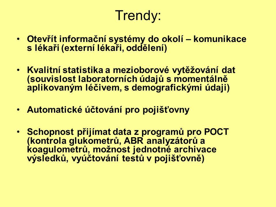 Trendy: Otevřít informační systémy do okolí – komunikace s lékaři (externí lékaři, oddělení) Kvalitní statistika a mezioborové vytěžování dat (souvisl