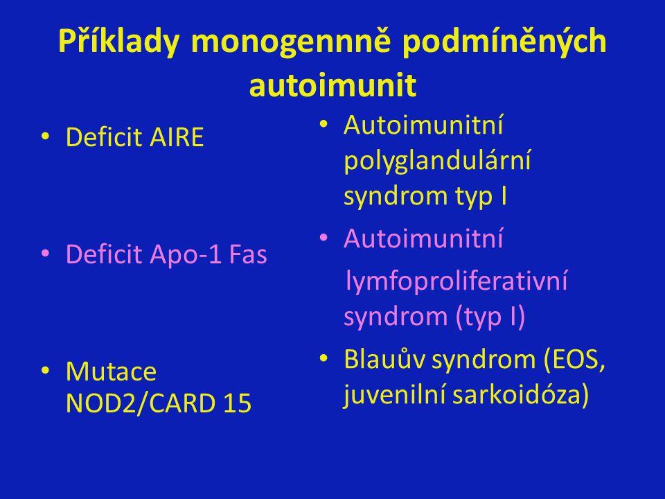Příklady monogennně podmíněných autoimunit Deficit AIRE Deficit Apo-1 Fas Mutace NOD2/CARD 15 Autoimunitní polyglandulární syndrom typ I Autoimunitní