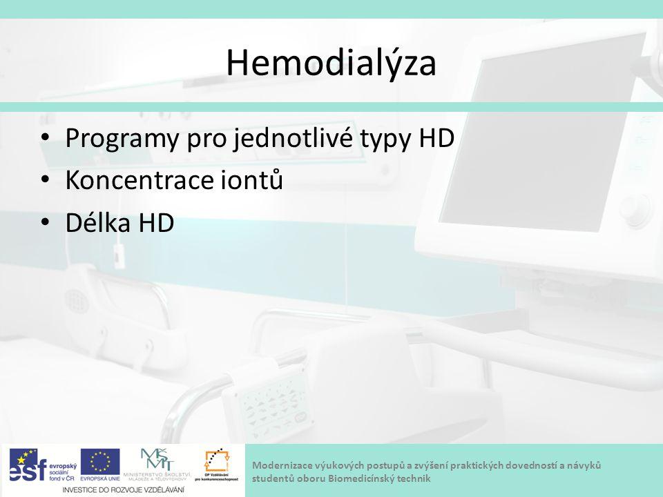 Modernizace výukových postupů a zvýšení praktických dovedností a návyků studentů oboru Biomedicínský technik Hemodialýza Programy pro jednotlivé typy