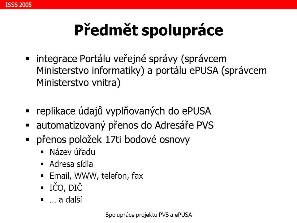 ISSS 2005 Spolupráce projektu PVS a ePUSA Cíl spolupráce  zjednodušení plnění povinností dle 106/99 Sb.