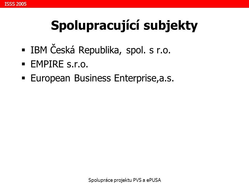 ISSS 2005 Spolupráce projektu PVS a ePUSA Spolupracující subjekty  IBM Česká Republika, spol.