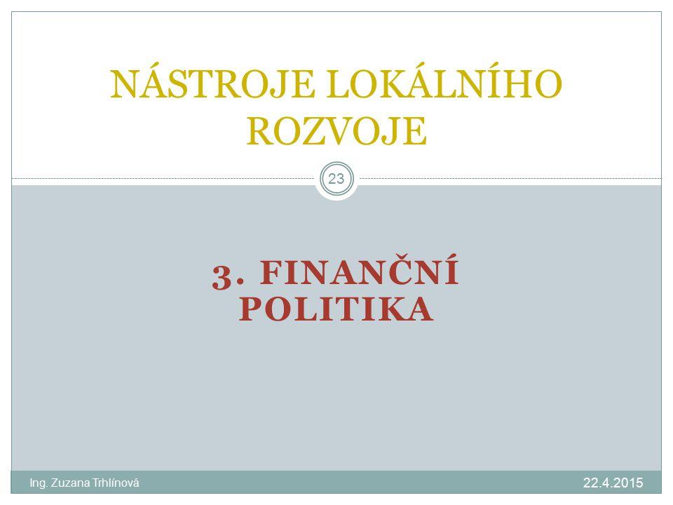 3. FINANČNÍ POLITIKA 22.4.2015 Ing. Zuzana Trhlínová 23 NÁSTROJE LOKÁLNÍHO ROZVOJE