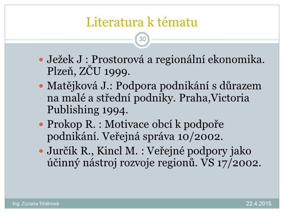 Literatura k tématu 22.4.2015 Ing. Zuzana Trhlínová 30 Ježek J : Prostorová a regionální ekonomika. Plzeň, ZČU 1999. Matějková J.: Podpora podnikání s