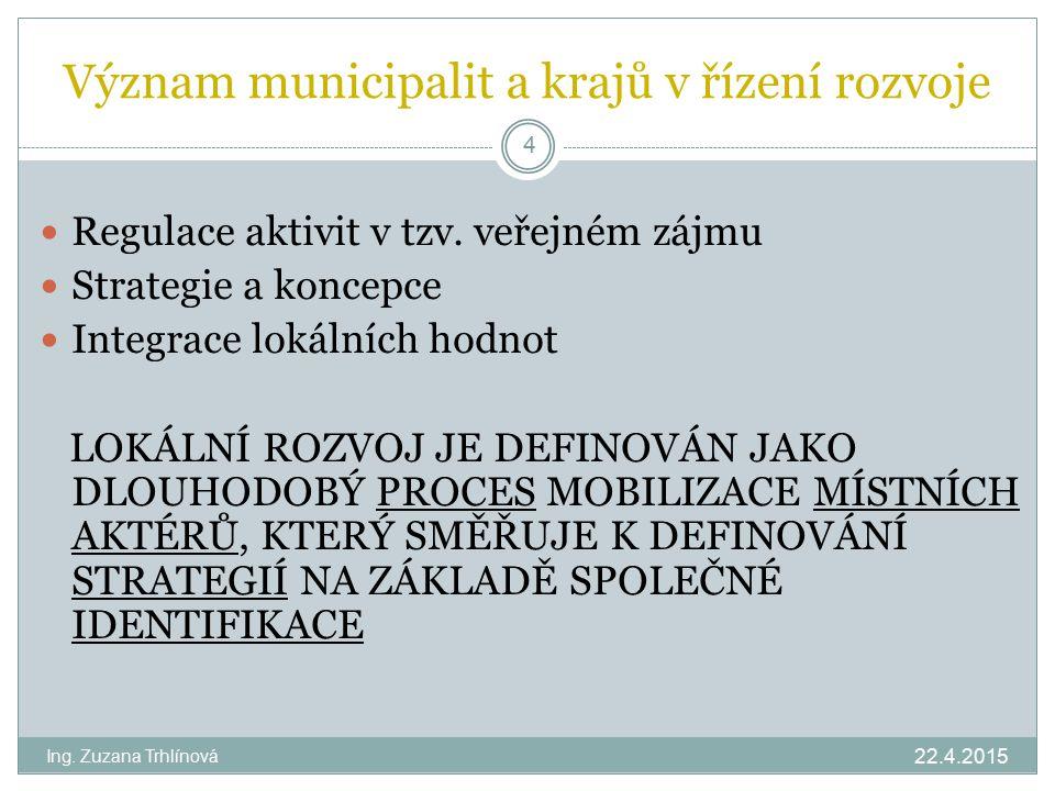 Význam municipalit a krajů v řízení rozvoje 22.4.2015 Ing. Zuzana Trhlínová 4 Regulace aktivit v tzv. veřejném zájmu Strategie a koncepce Integrace lo