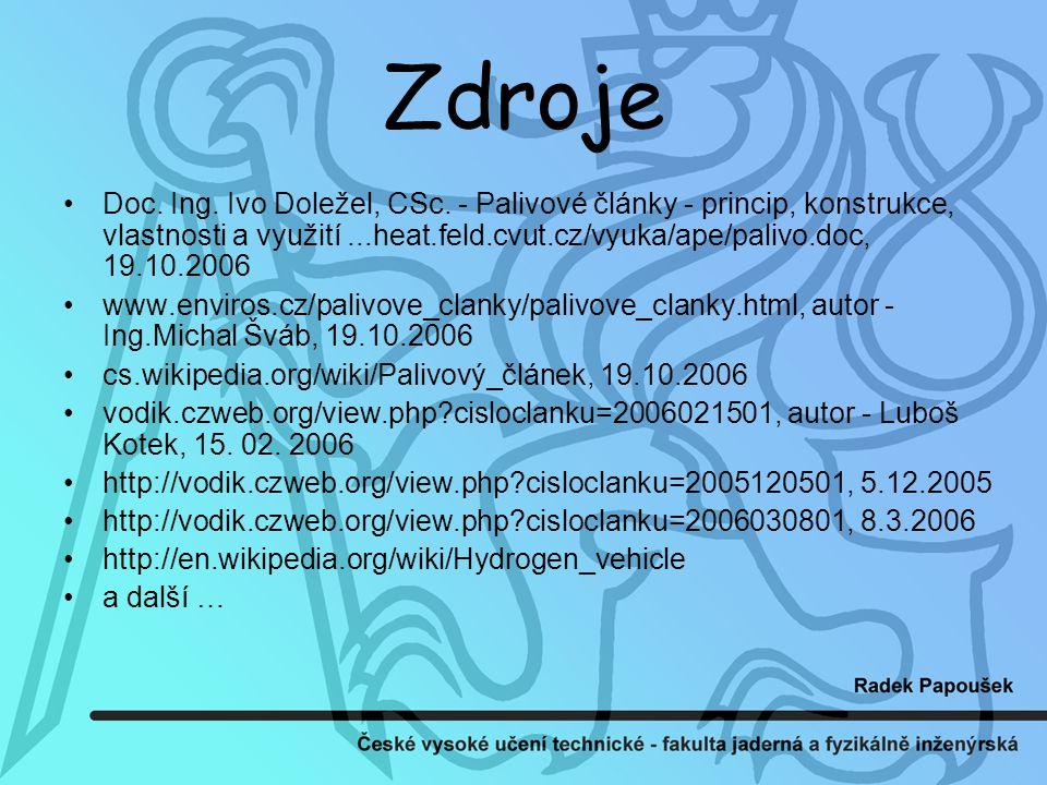 Zdroje Doc.Ing. Ivo Doležel, CSc.