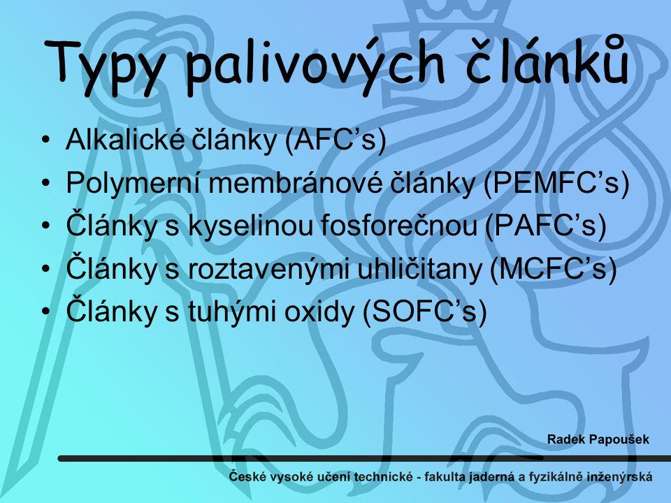 Typy palivových článků Alkalické články (AFC's) Polymerní membránové články (PEMFC's) Články s kyselinou fosforečnou (PAFC's) Články s roztavenými uhličitany (MCFC's) Články s tuhými oxidy (SOFC's)