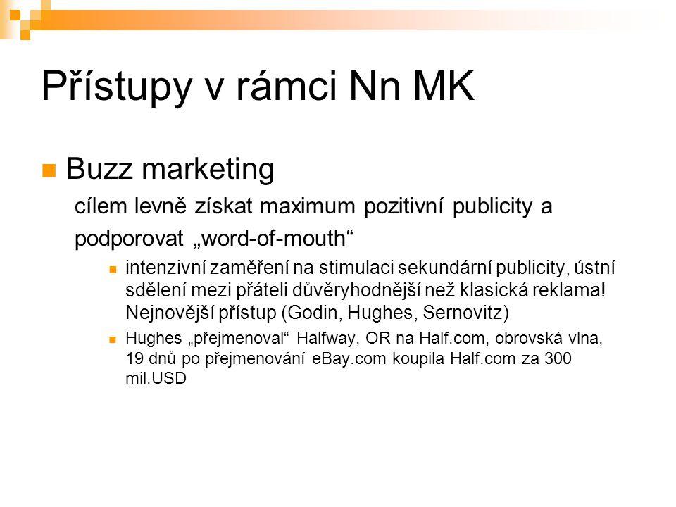 """Přístupy v rámci Nn MK Buzz marketing cílem levně získat maximum pozitivní publicity a podporovat """"word-of-mouth"""" intenzivní zaměření na stimulaci sek"""