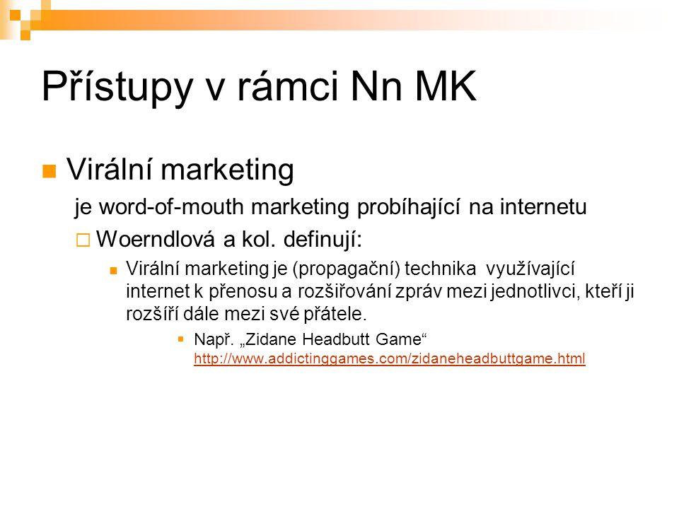 Přístupy v rámci Nn MK Virální marketing je word-of-mouth marketing probíhající na internetu  Woerndlová a kol. definují: Virální marketing je (propa