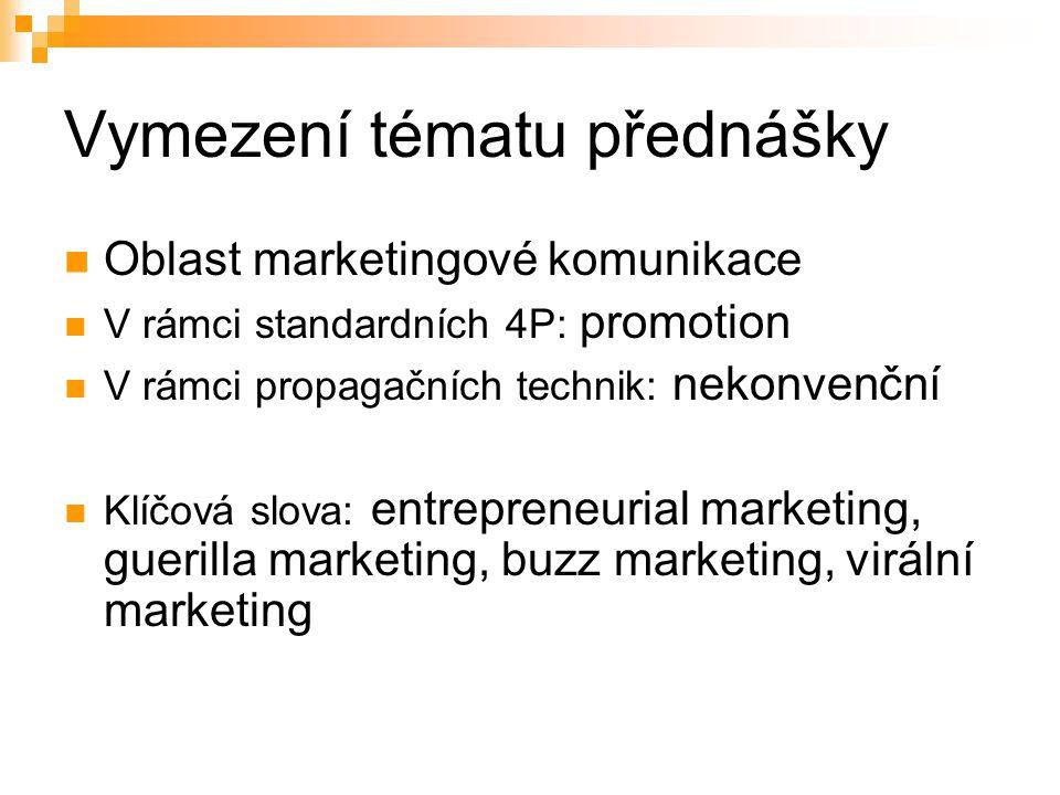 Vymezení tématu přednášky Oblast marketingové komunikace V rámci standardních 4P: promotion V rámci propagačních technik: nekonvenční Klíčová slova: e
