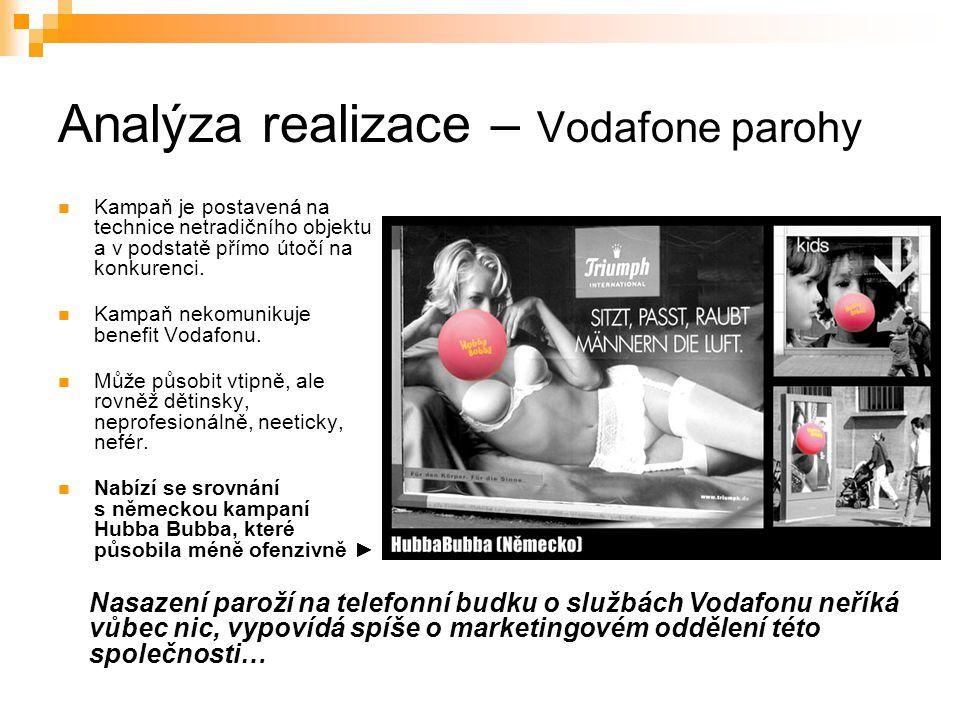 Analýza realizace – Vodafone parohy Kampaň je postavená na technice netradičního objektu a v podstatě přímo útočí na konkurenci. Kampaň nekomunikuje b