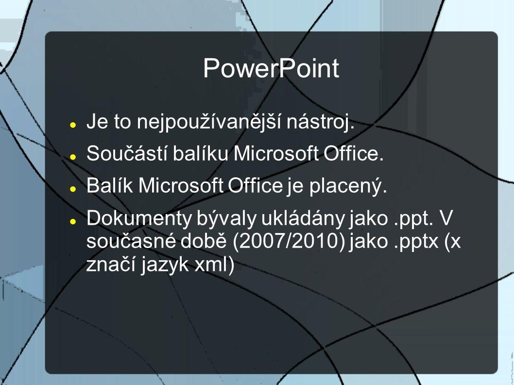 PowerPoint Je to nejpoužívanější nástroj. Součástí balíku Microsoft Office.