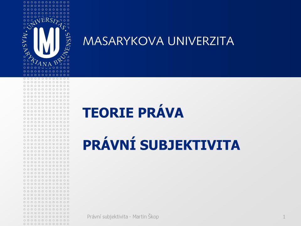 Právní subjektivita - Martin Škop1 TEORIE PRÁVA PRÁVNÍ SUBJEKTIVITA