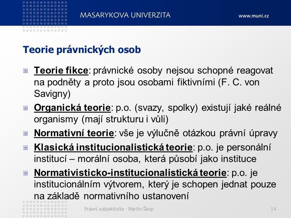 Právní subjektivita - Martin Škop14 Teorie právnických osob Teorie fikce: právnické osoby nejsou schopné reagovat na podněty a proto jsou osobami fikt