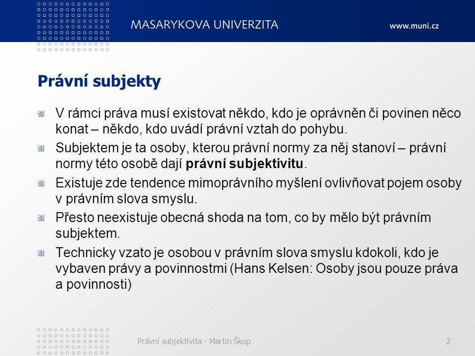 Právní subjektivita - Martin Škop2 Právní subjekty V rámci práva musí existovat někdo, kdo je oprávněn či povinen něco konat – někdo, kdo uvádí právní