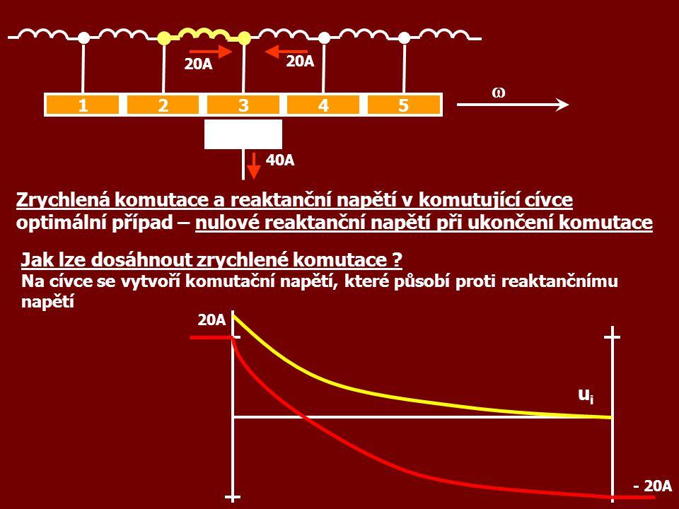 40A 12345  20A - 20A Zrychlená komutace a reaktanční napětí v komutující cívce optimální případ – nulové reaktanční napětí při ukončení komutace 20A Jak lze dosáhnout zrychlené komutace .