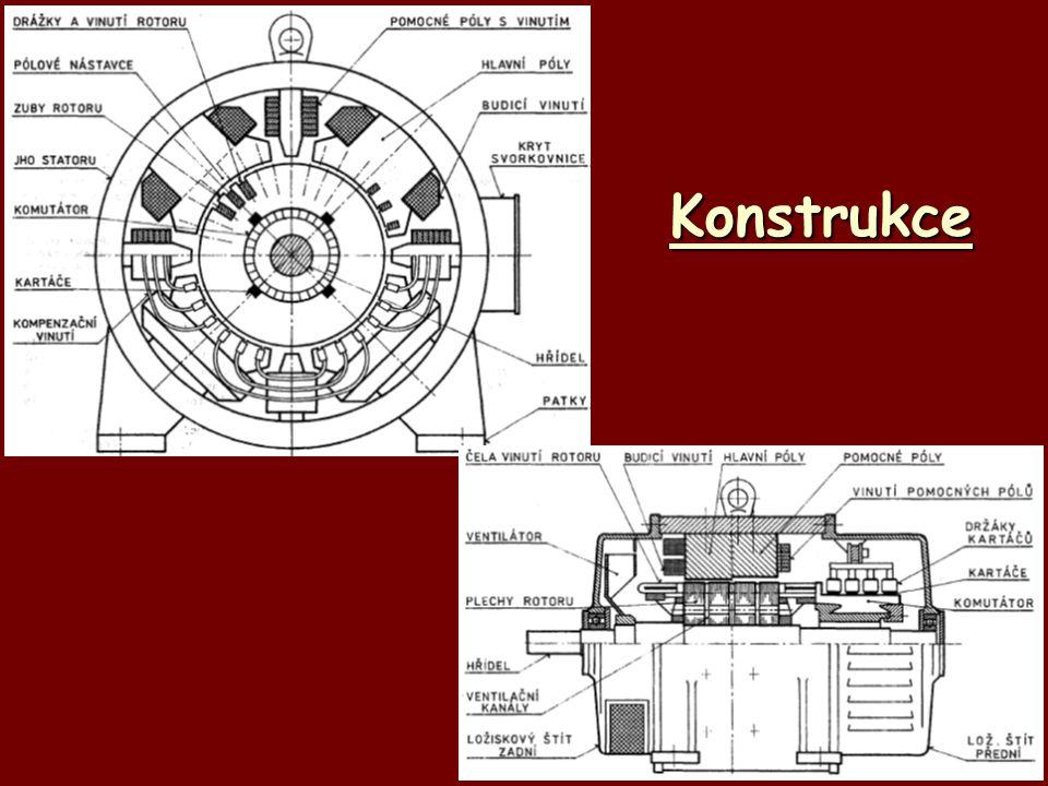 Princip činnosti (dynamo) *cívka rotoru se otáčí a v budícím magnetickém poli statoru *podle indukčního zákona se na cívce indukuje střídavé napětí (U i = B*l*v) *komutátor pracuje jako mechanický usměrňovač  střídavé napětí se přemění na stejnosměrné, pulsující *po připojení zátěže prochází proud, směr proudu je dán pravidlem pravé ruky simulace principu dynama