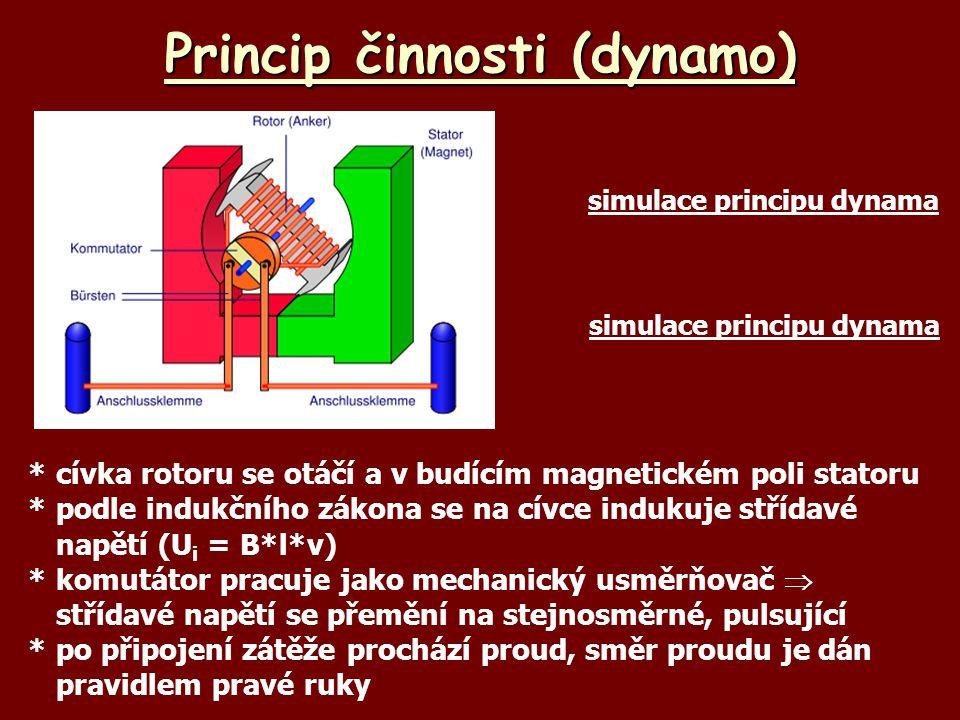 Princip činnosti (dynamo) *cívka rotoru se otáčí a v budícím magnetickém poli statoru *podle indukčního zákona se na cívce indukuje střídavé napětí (U