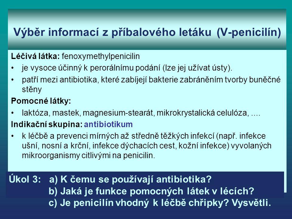 Výběr informací z příbalového letáku (V-penicilín) Léčivá látka: fenoxymethylpenicilin je vysoce účinný k perorálnímu podání (lze jej užívat ústy).