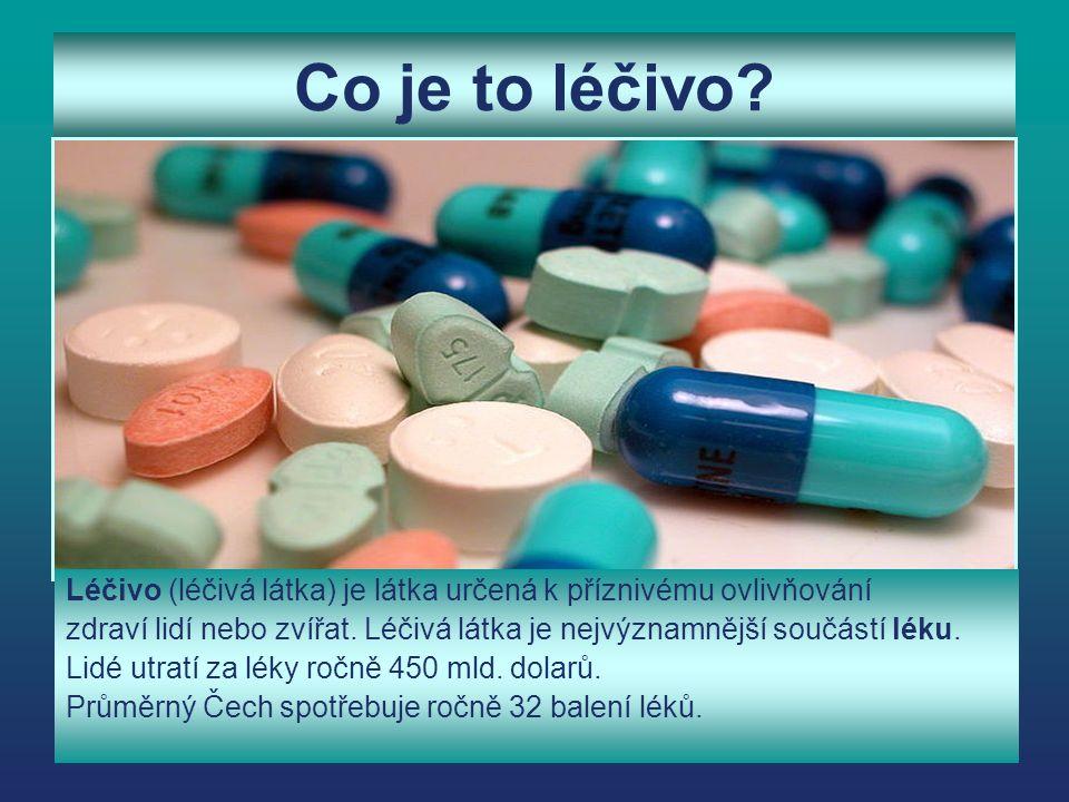 Co je to léčivo? Léčivo (léčivá látka) je látka určená k příznivému ovlivňování zdraví lidí nebo zvířat. Léčivá látka je nejvýznamnější součástí léku.
