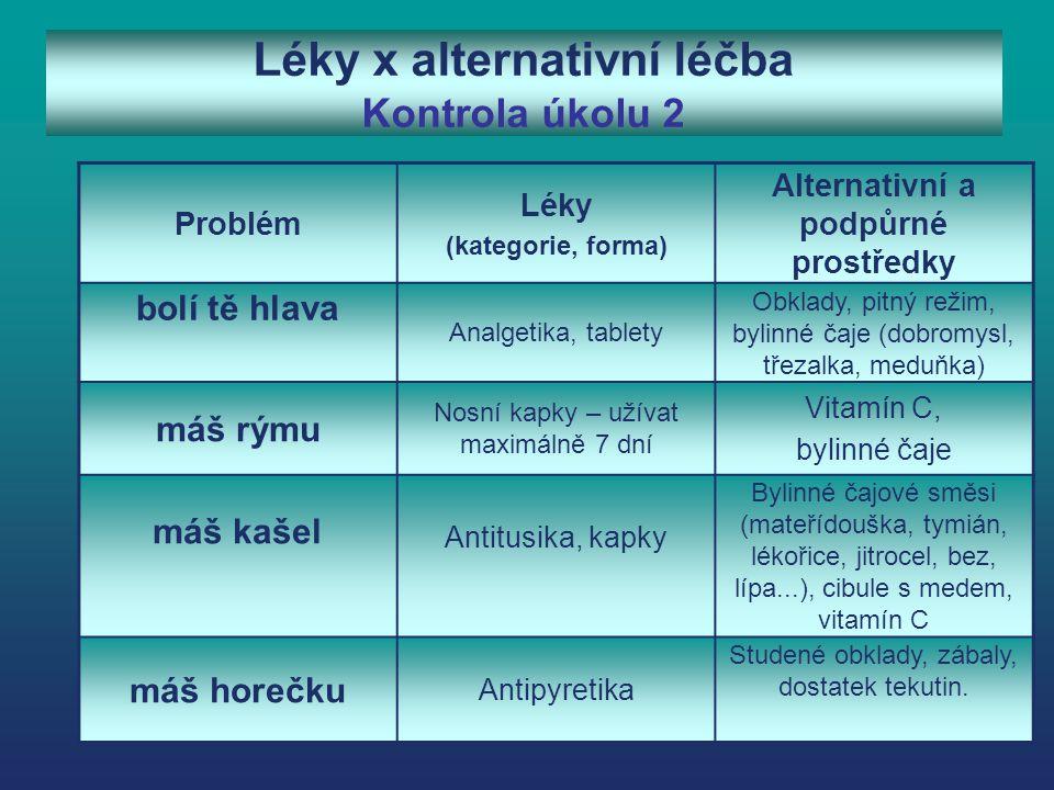 Léky x alternativní léčba Kontrola úkolu 2 Problém Léky (kategorie, forma) Alternativní a podpůrné prostředky bolí tě hlava Analgetika, tablety Obklad