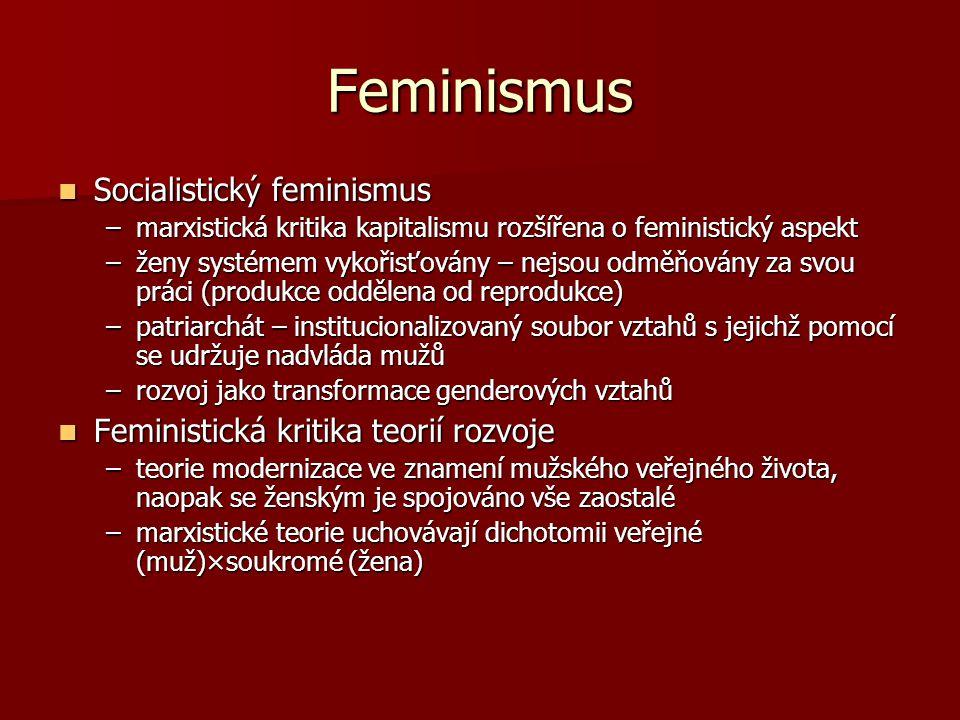 Feminismus Socialistický feminismus Socialistický feminismus –marxistická kritika kapitalismu rozšířena o feministický aspekt –ženy systémem vykořisťo