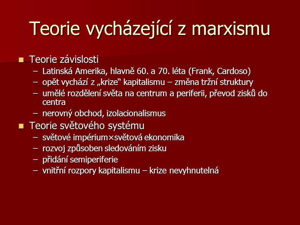 Teorie vycházející z marxismu Kritika Kritika –předpovědi se nenaplnily –teorie závislosti nebyla schopna popsat mechanismus vykořisťování –příliš deterministický charakter –totalitní praxe