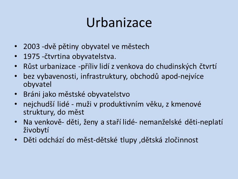Urbanizace 2003 -dvě pětiny obyvatel ve městech 1975 -čtvrtina obyvatelstva. Růst urbanizace -příliv lidí z venkova do chudinských čtvrtí bez vybaveno