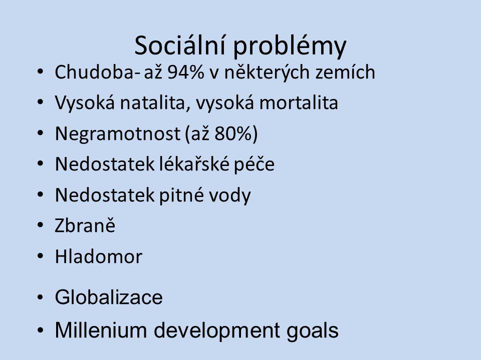 Sociální problémy Chudoba- až 94% v některých zemích Vysoká natalita, vysoká mortalita Negramotnost (až 80%) Nedostatek lékařské péče Nedostatek pitné