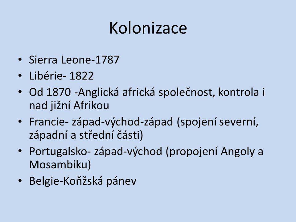 Kolonizace Sierra Leone-1787 Libérie- 1822 Od 1870 -Anglická africká společnost, kontrola i nad jižní Afrikou Francie- západ-východ-západ (spojení sev